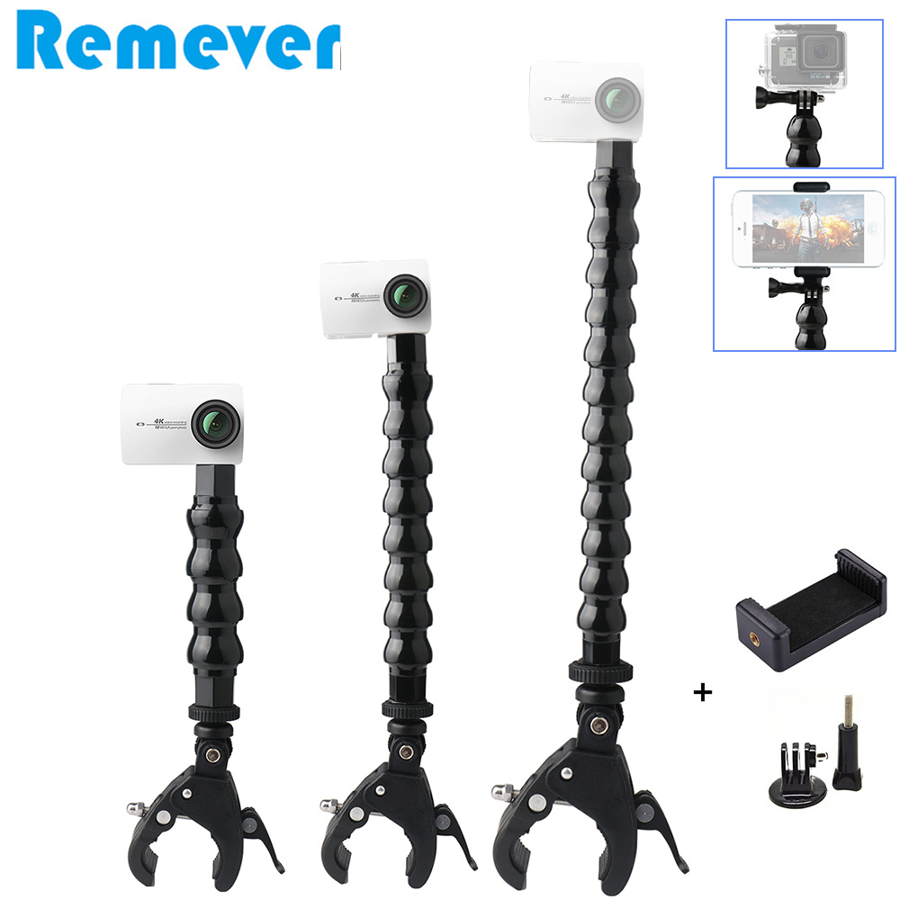 New Flexible Goose Neck Monopod with Holder Bracket for Gopro Hero 5 6 7 SJcam Action Cameras Selfie Stick with Clip for Phones image