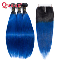 Queen Hair Products Ombre Bundles With Closure 1B/ Blue Two Tone 100% Human Hair Brazilian Straight Hair 3 Bundles With Closure