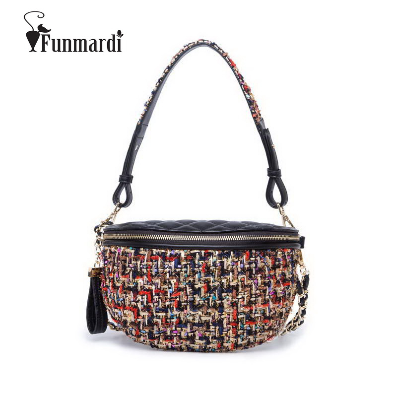 FUNMARDI  Fashion Color Fiber Knit Waist Bags Women PU Leather Belt Bag Female Chain Shoulder Bags Crossbody Fanny Pack WLAM0070