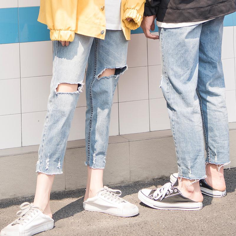 2018 Lovers Holes Jeans Woman Natural Waist Haren Real Directly Canister Nine Part Tide blue Favourite Fashion Free shipping