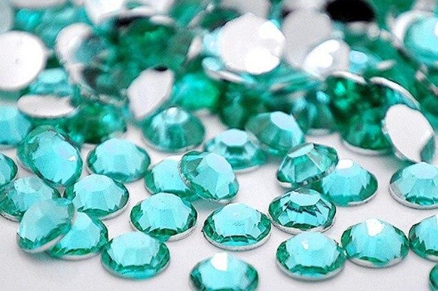 Aquamarine Color 2mm,3mm,4mm,5mm,6mm Facets Flat Back Resin Rhinestone Nail Art Gements Decoration Stones/Beads