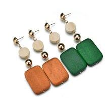 Korean Style Earrings Pendientes Vintage Wooden Yellow Green Earrings For Women  Jewelry Long Earring Statement Jewellery Bijoux 6fa5ac9ebdb4