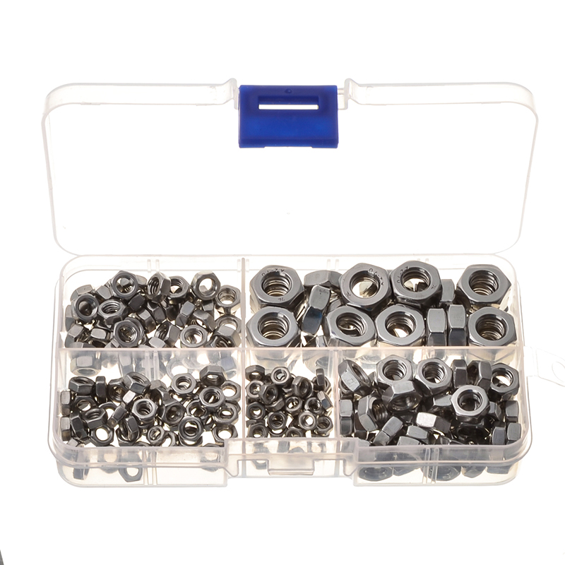 230PCS Stainless Steel Hexagon Socket Screw Nuts Assortment Set M3 M4 M5 M6 M8 20pcs m3 6 m3 x 6mm aluminum anodized hex socket button head screw