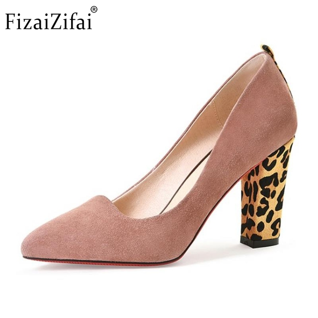 Lady Geniune Leather High Heel Shoes Women Nude Color Pointed Toe Leopard  Thick Heels Pumps Sexy Party Footwear Size 34-39 0cdbc9252903