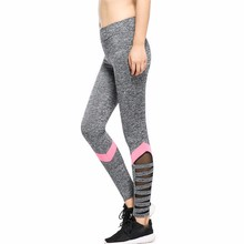AO SHENG Latest Arrival Fitness Cut Out legging With Pink Stripes Newest Designs High Waist Patchwork Mesh Leggings Y070