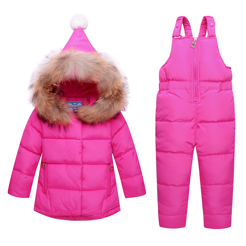 1f775accd Down Jacket For Girls Snowsuit Winter Overalls For Boy Children Warm  Jackets Toddler Outerwear Baby Suits Coat + Pant Set 2-4Y