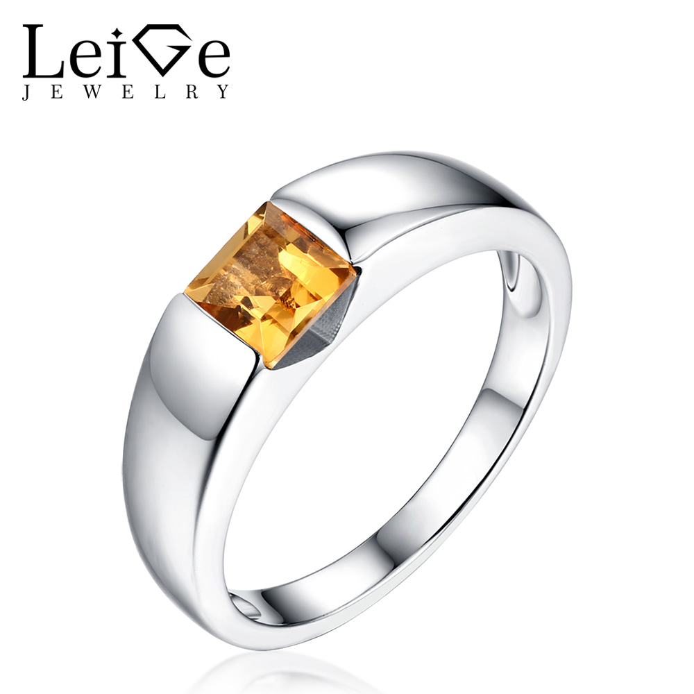 Leige Jewelry Natural Citrine Ring Square Cut Bezel Setting Sliver 925 Rings Engagement Wedding Rings for Women Anniversary Gift