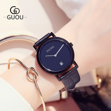 GUOU Luxury Brand Quartz Watch Genuine Leather Women Watches Casual Ladies Watches Women Clock Montre Femme Relogio feminino luxury brand kimio fashion ladies genuine leather women watches relogio feminino women s watches waterproof quartz watch clock