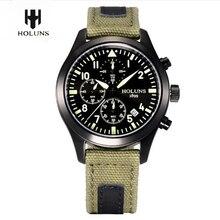 Для мужчин Часы Лидирующий бренд HOLUNS Пилот Армия Военная Униформа Тактический кварцевые наручные часы Водонепроницаемый Световой Наручные часы мужской спорт смотреть