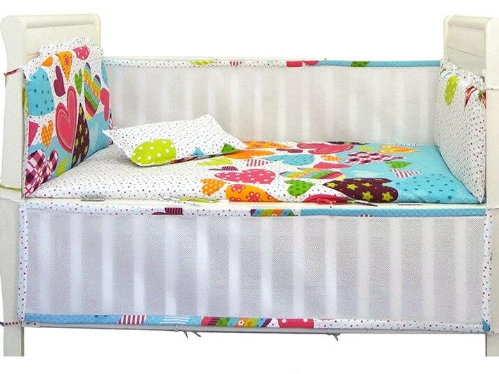 Promotion 6PCS Mesh baby crib bedding sets Cot Crib Bumper Set baby bed linen 4bumpers sheet