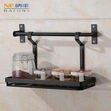 цены Metal Strong Black Kitchen Shelf 304 Stainless Steel Kitchen Pendant Seasoning Rack Wall Hanging Knife Holder Storage Holder