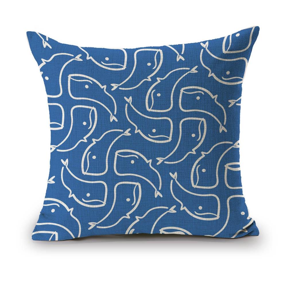 SewCrane Baby Whale Blue Print Decorative Throw Pillow Cushion Cover, 45cm x 45cm