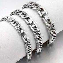 fc0fb34074f9 2019 de acero inoxidable pulsera de la joyería de los hombres parte de la  mano de la moda cubano pulseras de cadena para niños m.