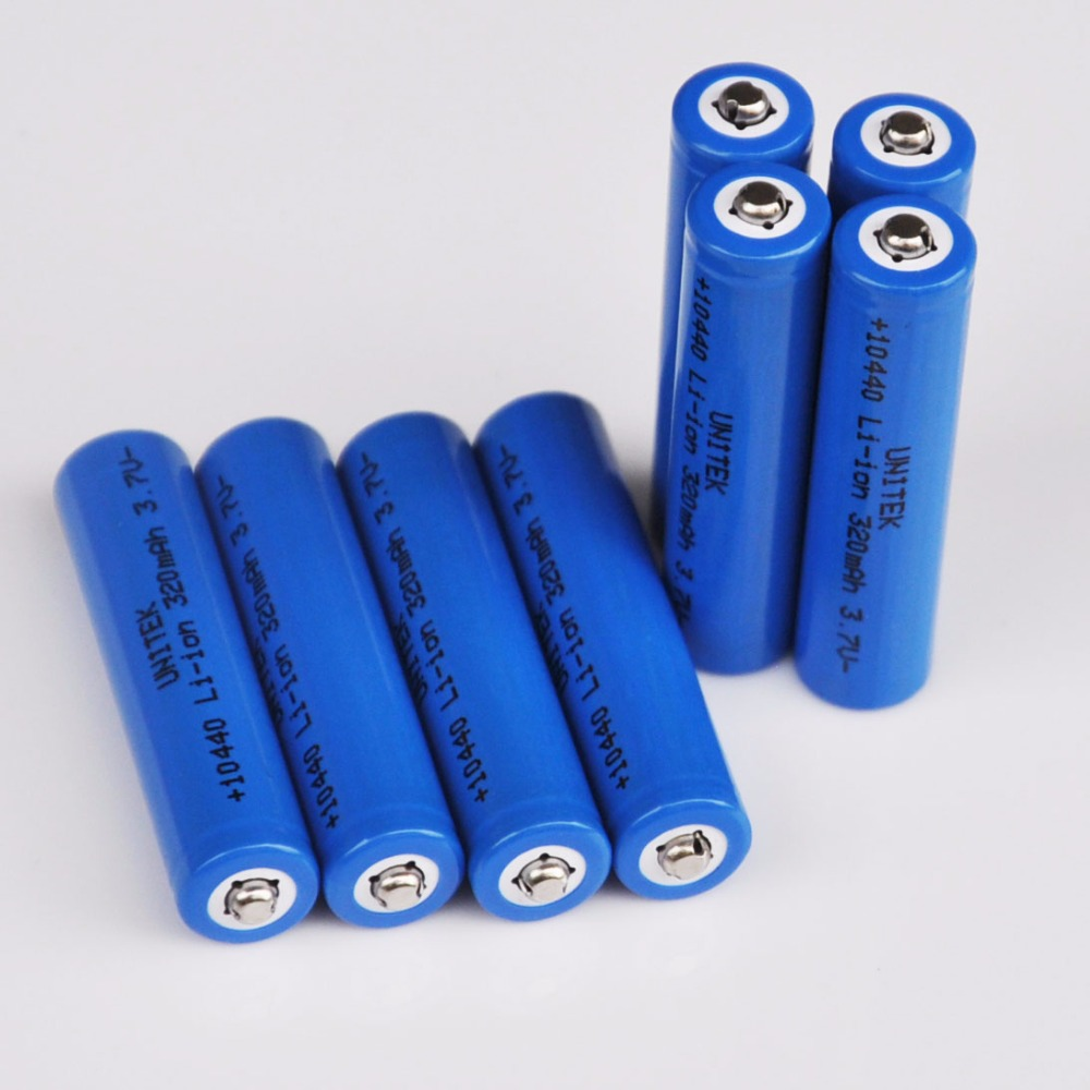 8PCS 3.7V 10440 Rechargeable lithium ion battery ICR10440 320mah AAA size li-ion cell for LED flashlight torch toys image