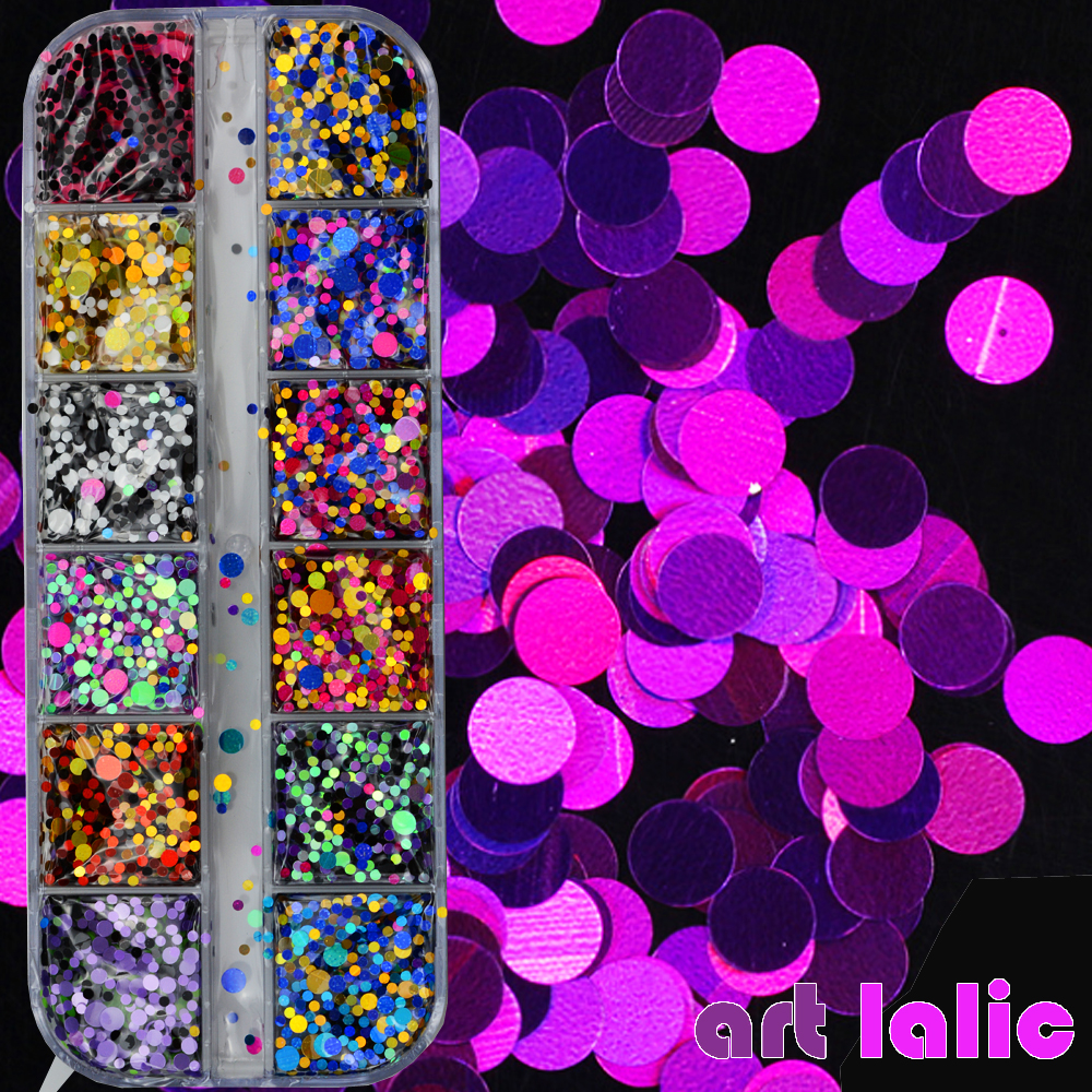 1 Case Nail Art Sequins Chameleon Laser Glitter Flakes Dots Glitter Powder UV Gel Polish Paillette Tool Decor Manicure
