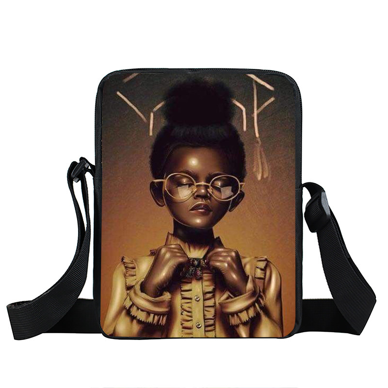 Afro Lady Girl messenger bag Africa Beauty Princess small shoulder bag brown women handbag mini totes teenager crossbody bags 34