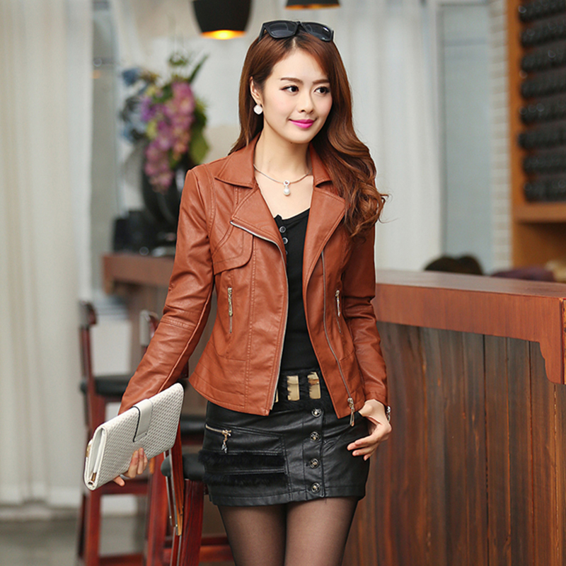 2019 Fashion Autumn Women Pu   Leather   Jacket Slim Motor Outwear Coat Zippers Roupas De Couro Femininos Plus Size 4XL