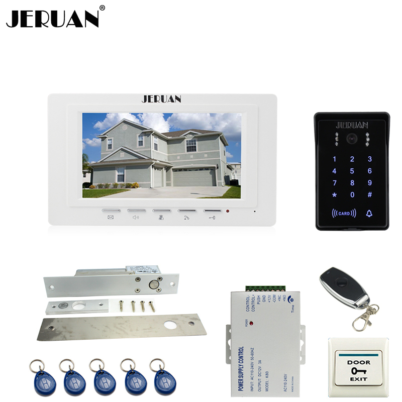 JERUAN luxury white 7`` Video Intercom Video Door Phone System RFID Access Waterproof Touch key Camera+Remote control Unlocked jeruan new 7 video intercom entry door phone system 1monitor 700tvl touch key waterproof rfid access camera remote control