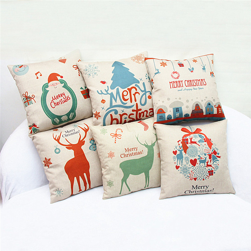 ᐃChristmas Cushion Cover Throw Pillow Case Santa Claus Elk Print Extraordinary Decorated Pillow Cases