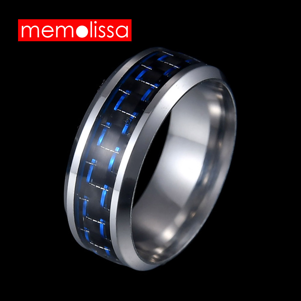 MeMolissa Jewelry Simple Blue Carbon Fiber Inlay Ring For Men Stainless Steel Wedding Band Engagement Ring USA Size 7-11
