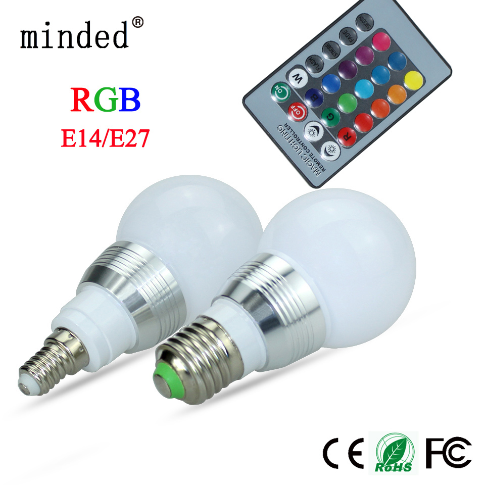 RGB LED Bulb E27 85-265V 3W LED Lamp E27 220V 110V Spotlight Lamparas LED Light Bulb E14 Spot Luz Christmas Lampadas 16 Color цена и фото