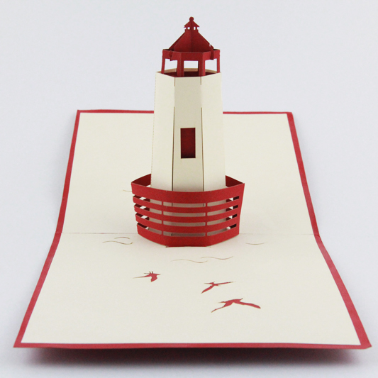 Lighthouse pop up card /3D  card  kirigami handmande card/  customize Free shipping music card spiral pop up musical notes 3d card music instruments pop up card bday pop up card