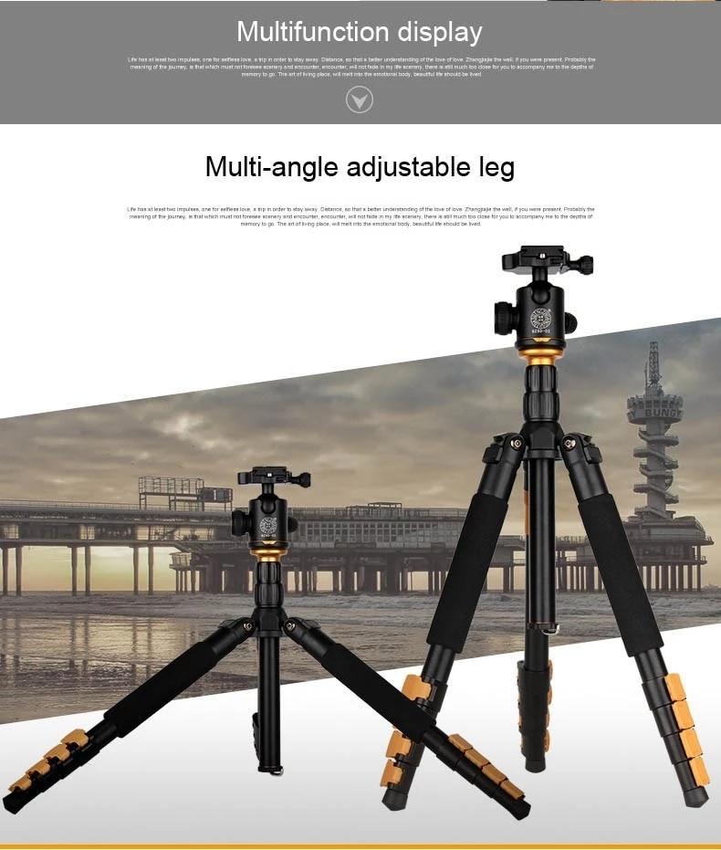 Live Equipment Q570a Fotocamera Treppiede Aluminum 1580 Height Flip Leg Lock Kamera Tripod Folded 355mm Portable Dslr Camera Stand Q666 Consumer Electronics