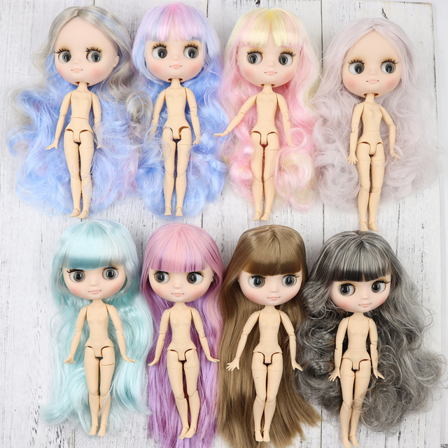 Middie blyth nude doll 20cm JOINT body Frosted face with makeup gray eyes soft hair new specials DIY toys gift with gestures