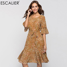 цена на ESCALIER Women Dress Bohemian Style Print O-Neck Butterfly Half Sleeve Loose Flounce Dresses Loose or Belt to wear+underwear