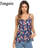 Tengeio 2018 Women Chiffon Floral Print Spaghetti Strap Beach Top Sexy Camis Casual V Neck Summer