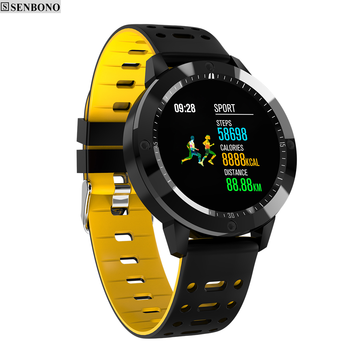 d491f7a51 SENBONO CF58 ساعة ذكية IP67 للماء الزجاج المقسى النشاط جهاز تعقب للياقة  البدنية مراقب معدل ضربات