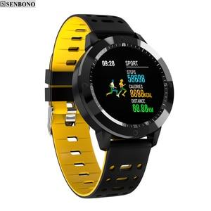 Image 1 - SENBONO CF58 חכם שעון IP67 עמיד למים מזג זכוכית פעילות גשש כושר קצב לב צג ספורט גברים נשים חכם להקה