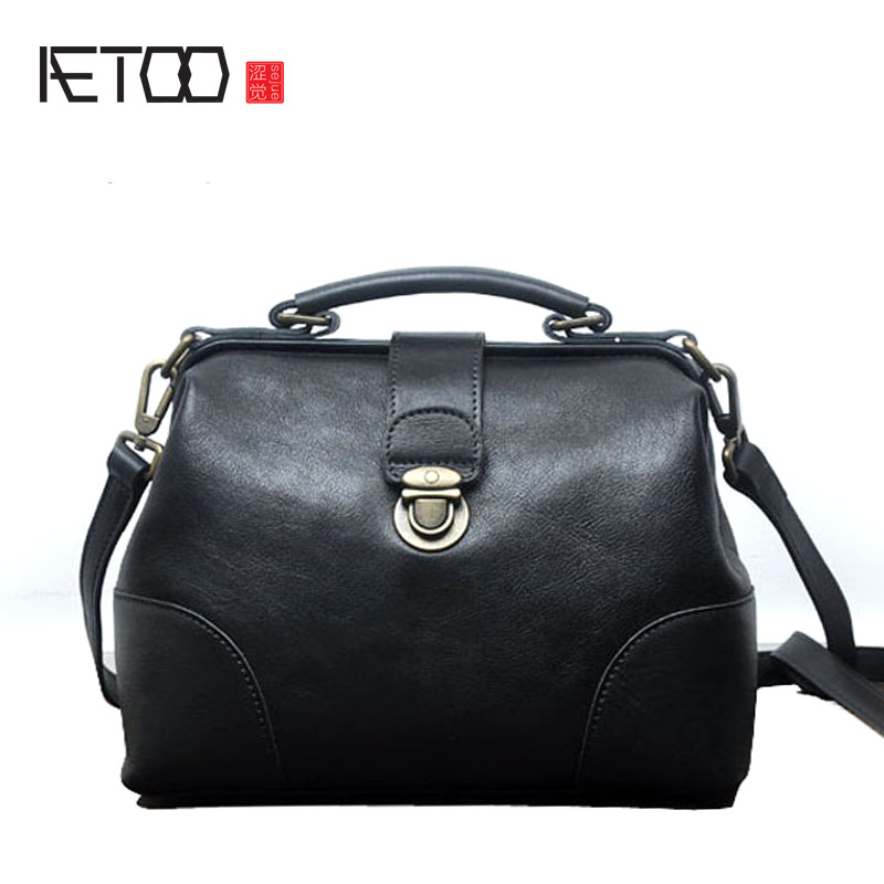 AETOO Korean version of the large-capacity retro doctor Baotou layer of cowhide handbags wild British leather Messenger bag summer new women leather handbags shell bag shoulder bags first layer of cowhide korean version of the wild fashion handbags