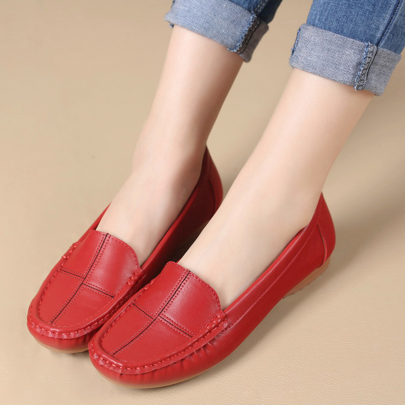 Leather Shoes Women Slip On Casual Shallow Mouth Flat Shoes Soft Bottom Middle-Aged Mother Shoes New Work Shoes Plus Size siketu sweet bowknot flat shoes soft bottom casual shallow mouth purple pink suede flats slip on loafers for women size 35 40