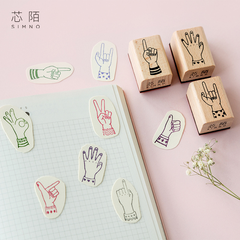 crafts:  fingertip index seal stamp material rubber stamp gesture DIY copy hand stamp tool wood stamp arts and crafts for kids - Martin's & Co