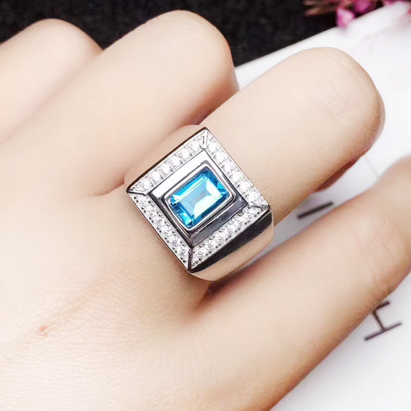 925 Silver Man Ring 5 mm*7 mm Natural London Blue Topaz Man Ring Solid Sterling Silver Topaz Jewelry Fashion Silver Man Jewelry
