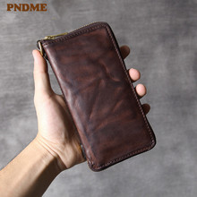 PNDME high quality vintage fashion men's women's long soft cowhide genuine leather zipper wallet clutch phone credit cards purse