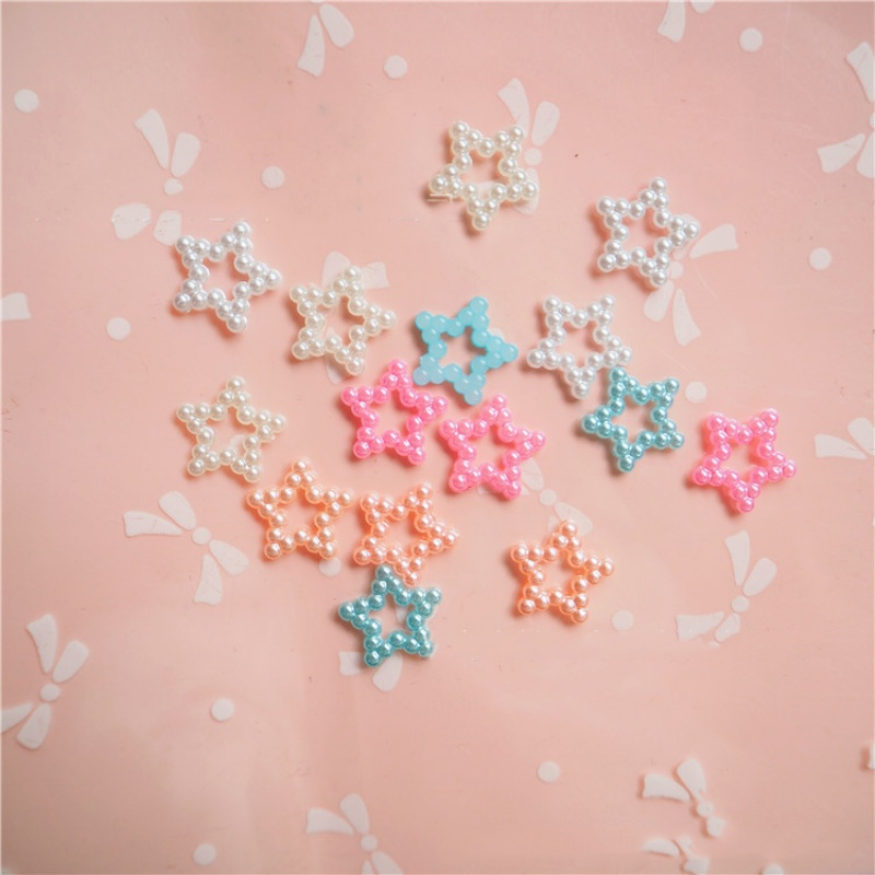 Hot Sale 1cm 1000pcs/bag mixed fancy pearl star Flatback Resin Buttons multi colors DIY Craft Jewelry cell phone Decoration YM27