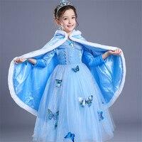 ABGMEDR Brand Cinderella Dress Winter Girls Dresses Children Christmas Clothing Monsoon Kids Dress Warm Cloak Butterfly
