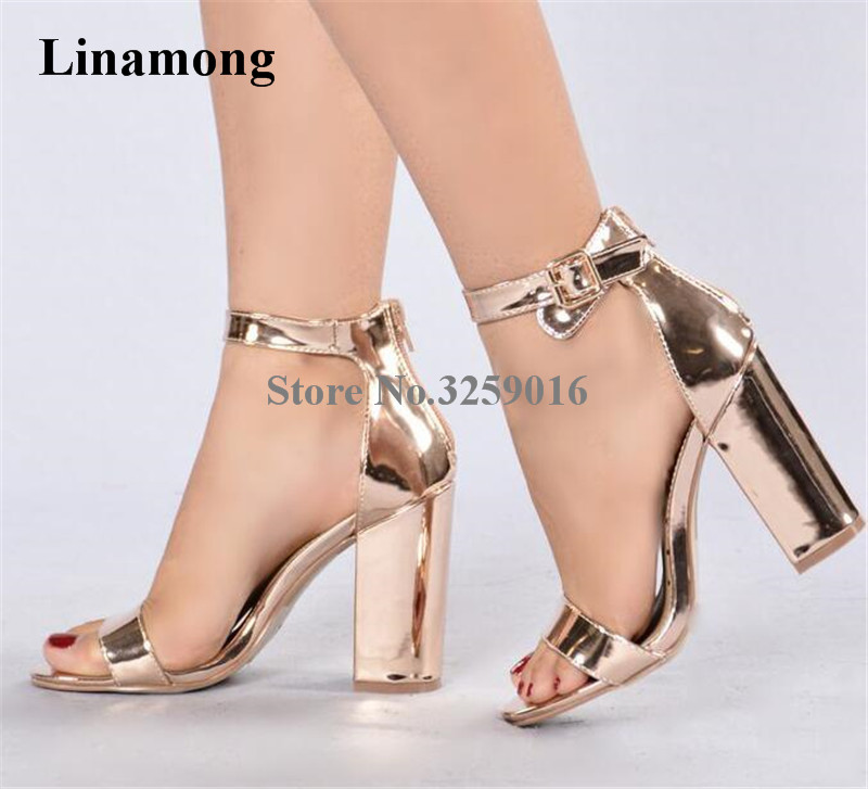 Women Luxury Open Toe One Strap Champagne Gold Chunky Heel Sandals Ankle Strap Buckle Thick High Heel Sandals Dress Shoes genshuo women sandals fashion high heels white polka dots sweet buckle ankle strap sandals women chunky heel open toe size 5 5 8
