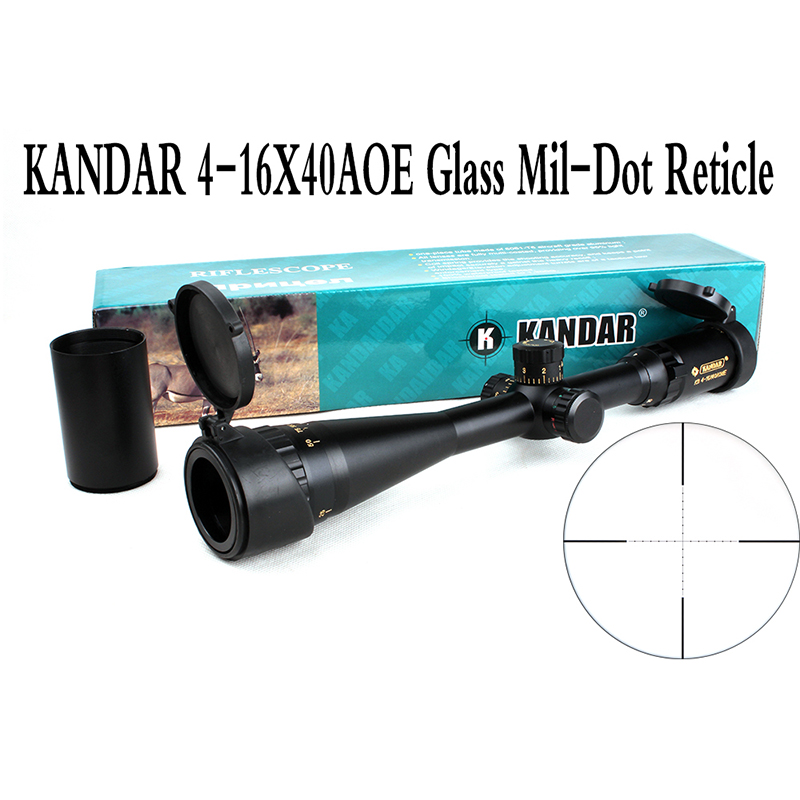 KANDAR 4-16x40 AOME Hunting Tactical Optical Rifle Scope Golden Markings Illuminated Mil-dot Riflescope with 11 or 20mm Rings tactial qd release rifle scope 3 9x32 1maol mil dot hunting riflescope with sun shade tactical optical sight tube equipment