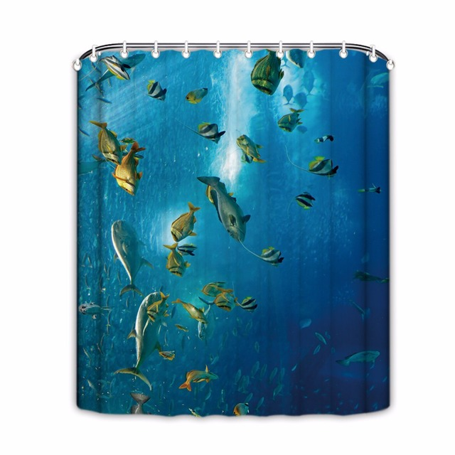 Sea Pattern Shower Curtains Shark Bathroom Shower Curtains Blue Waterproof  Fabric Shower Curtain Bathroom Products Home