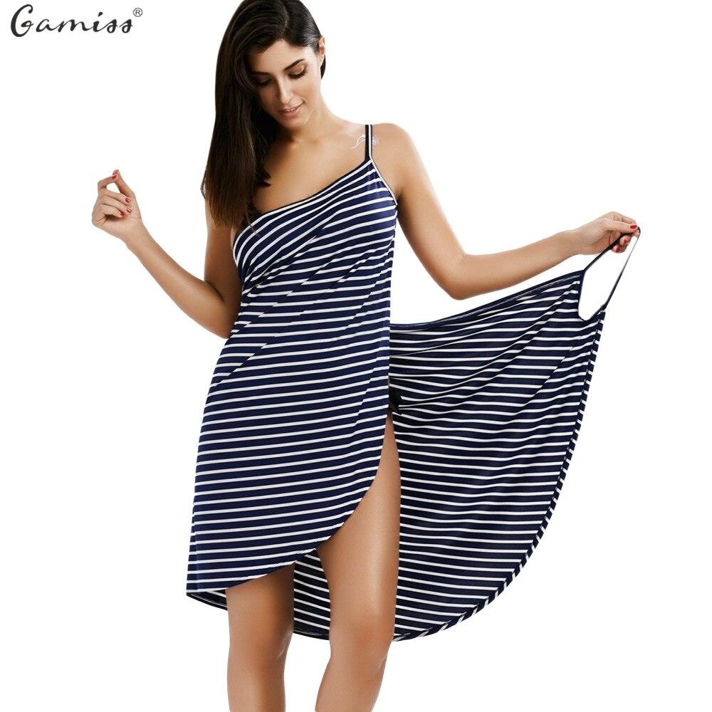 Women Summer Striped Dress V-neck Spaghetti Strap Women Knee-length Cover ups Beach Dresses