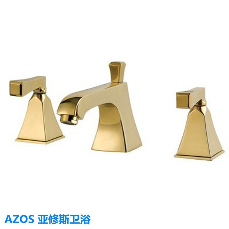 Classic Golden Gold Deck Mounted 3 Holes Sink Faucets Hot and Cold ...