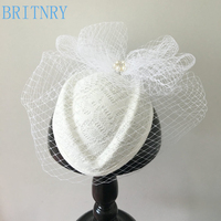 BRITNRY Vintage Black Ivory Wedding Hats and Fascinators Handmade Lace with Tulle Birdcage Veil