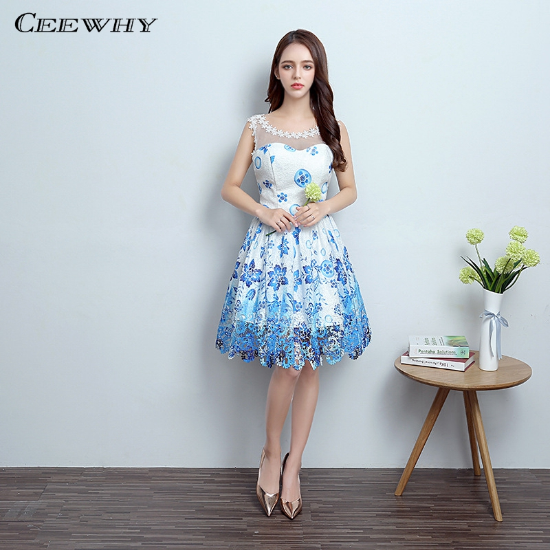 Ceewhy Lace Dress Knee Length Prom Dresses Formal Gown Short Evening