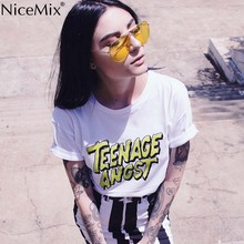 NiceMix 2019 Summer Tops for Women Tee Harajuku T Shirt Print TEENAGE ANGST Femme Cotton Tumblr T-shirt Feminino