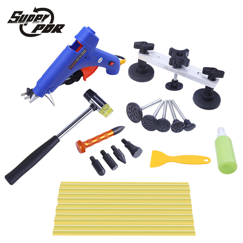 Super PDR tools pulling bridge glue gun dent repair tools kit 16pcs Paintless Dent removal Hand Tool Set High quality dent pulling bits straight