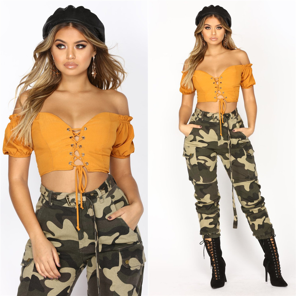 Special Design Front Hollow Women Orange Cross Lace Up Crop Top Summer Slash Neck Short Puff Sleeve And Backless Sexy TeeLS6102