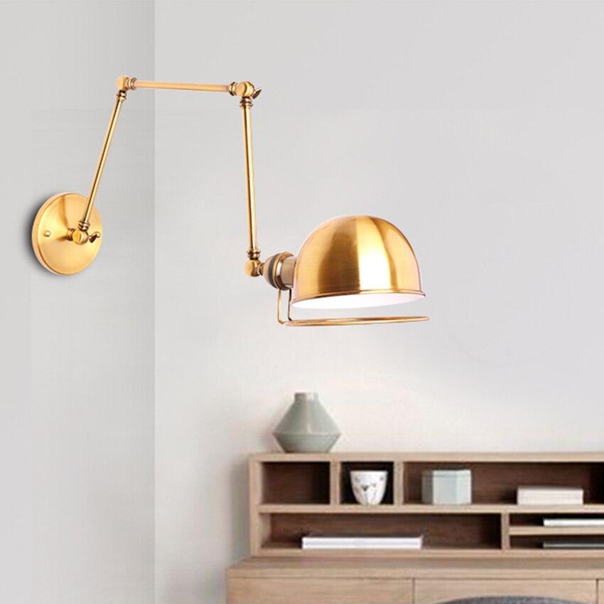 Loft Retro Matte Black Iron Shade Adjustable Swing Arm Reading Wall Lamps Lights E27 Sconce for Workroom Bedroom Bar Cafe Foyer